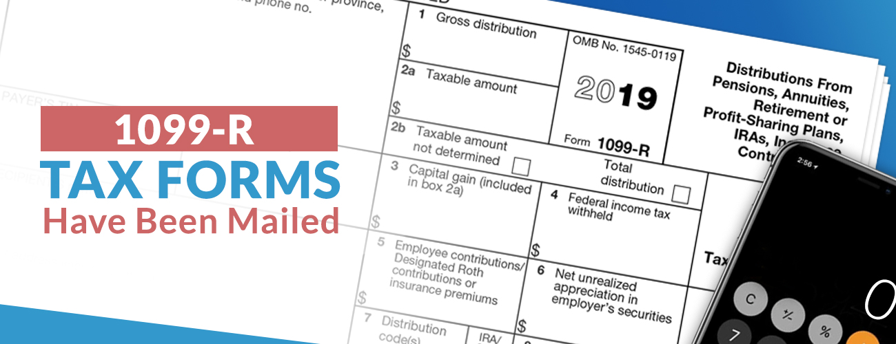 1099-R tax form on blue background